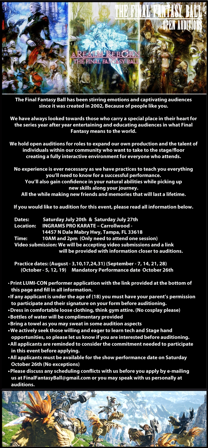 FFB Auditions info 2019